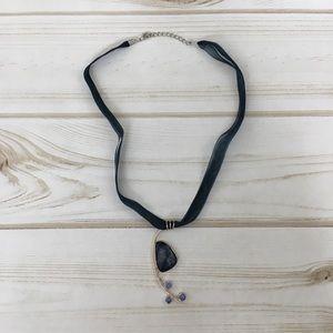 NWOT pendant on ribbon necklace